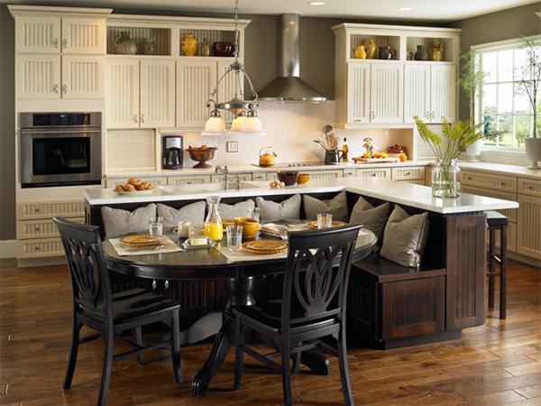 Ilot de cuisine bar maison for Banquette table cuisine